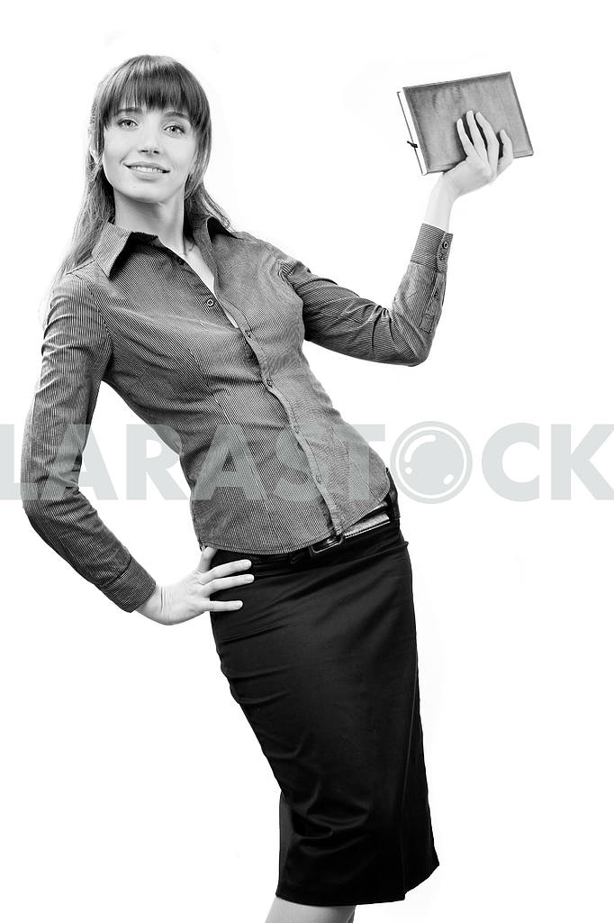 Young smiling successful business woman. Over white background — Image 5583
