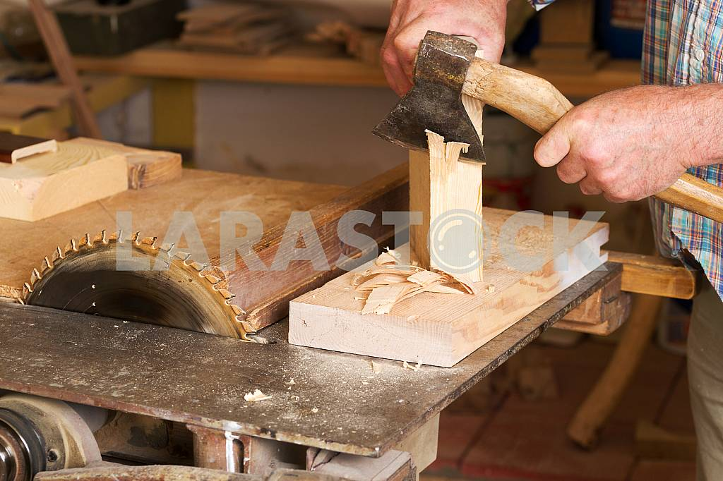 Carpenter tools on wooden table with sawdust. Circular Saw. Carpenter workplace top view — Image 45754