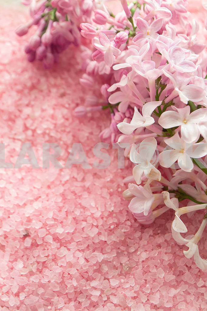 Lilac flower and bath pink salt top view background, background for wedding card — Image 83154