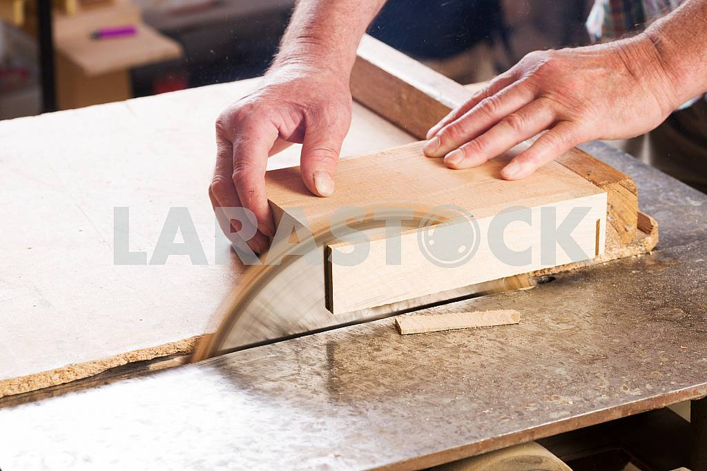 Carpenter tools on wooden table with sawdust. Circular Saw. Carpenter workplace top view — Image 45674
