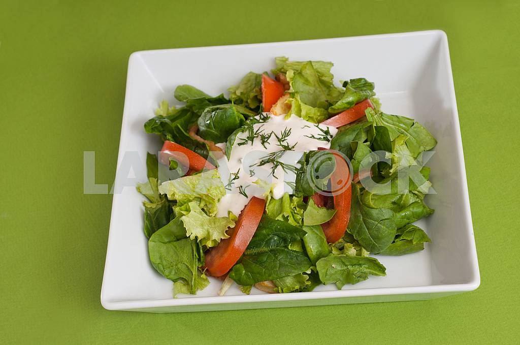 Fresh vegetable salad with sour cream — Image 32774