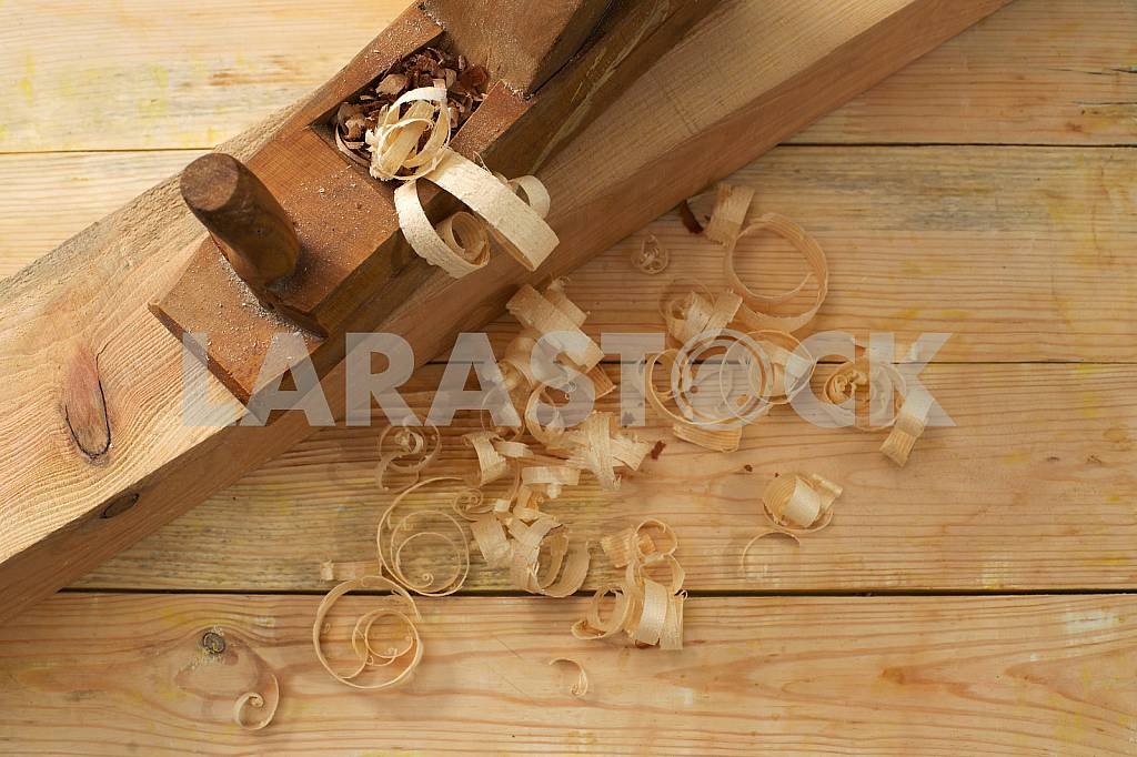 Carpenter tools on wooden table with sawdust. Circular Saw. — Image 42894