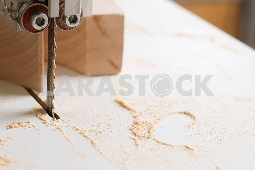 Carpenter tools on wooden table with sawdust. Circular Saw. Carpenter workplace top view — Image 45745