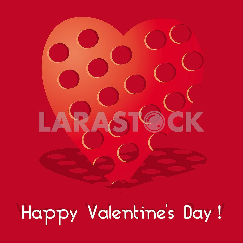 Valentine card with red heart with holes on red background — Image 78145