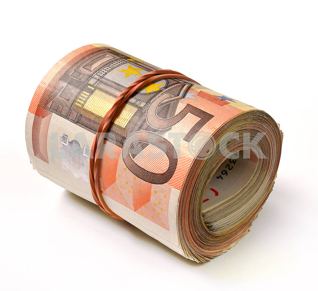 50 euro banknote folded in a roll — Image 19345