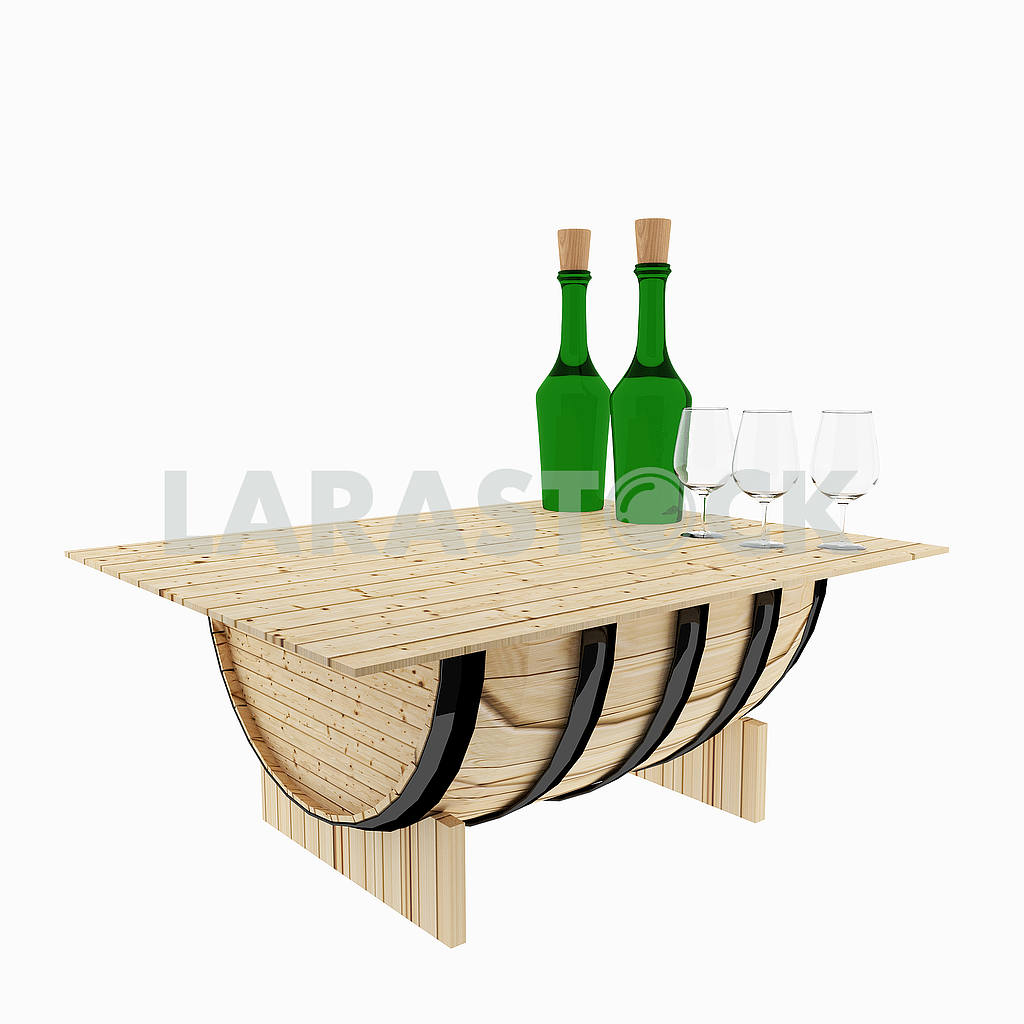 Table oak barrel for bar on isolated white on 3D rendering — Image 53506