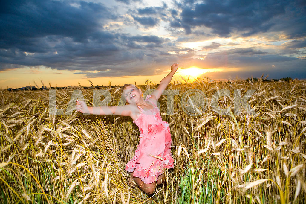 Little girl jumps in a wheat field. Against backdrop of cloudy s — Image 11606