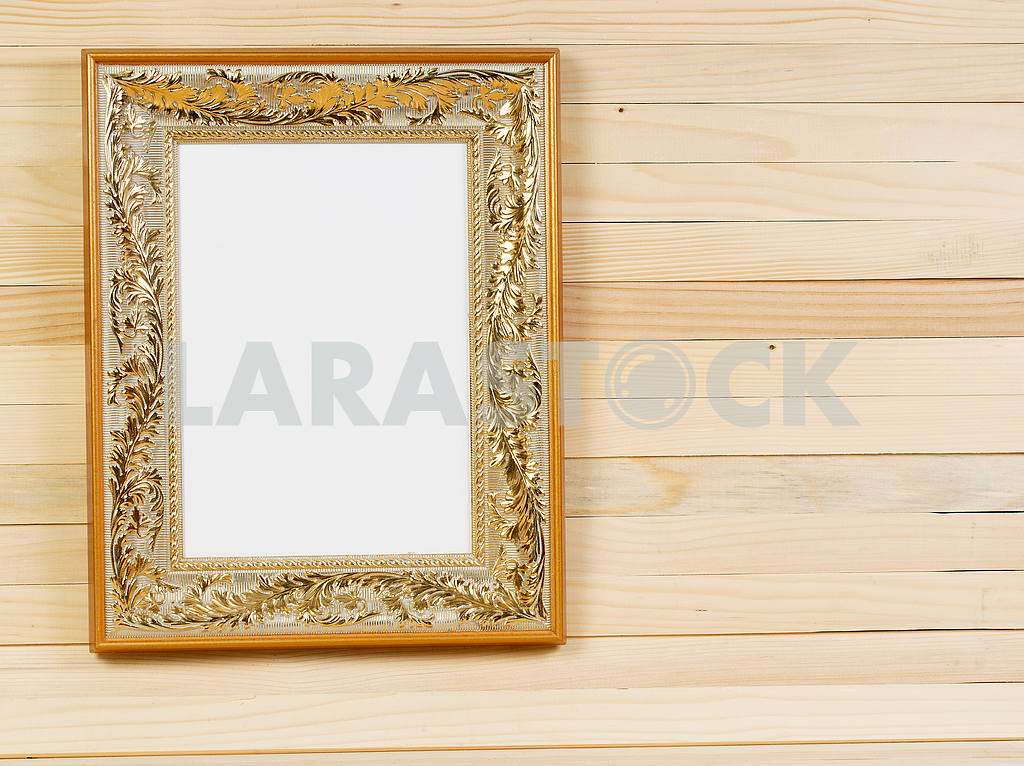 Frame on wooden wall. Interior Design. Copy space — Image 47487