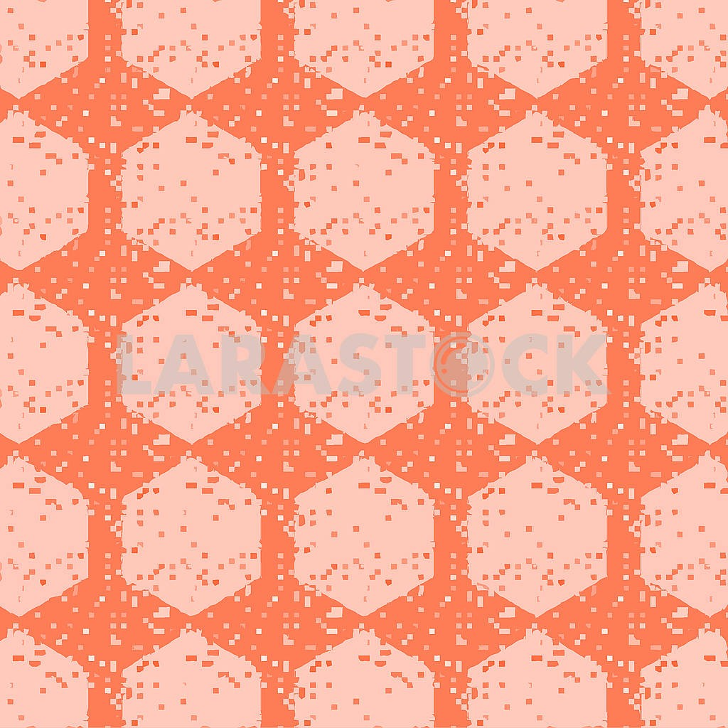 Abstract continuous pattern with pixelated squares and round tiles in coral, peach and cream colors. — Image 83048