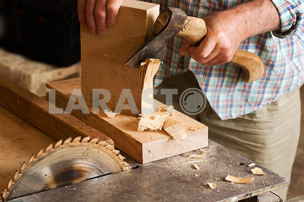 Carpenter tools on wooden table with sawdust. Circular Saw. Carpenter workplace top view — Image 45758
