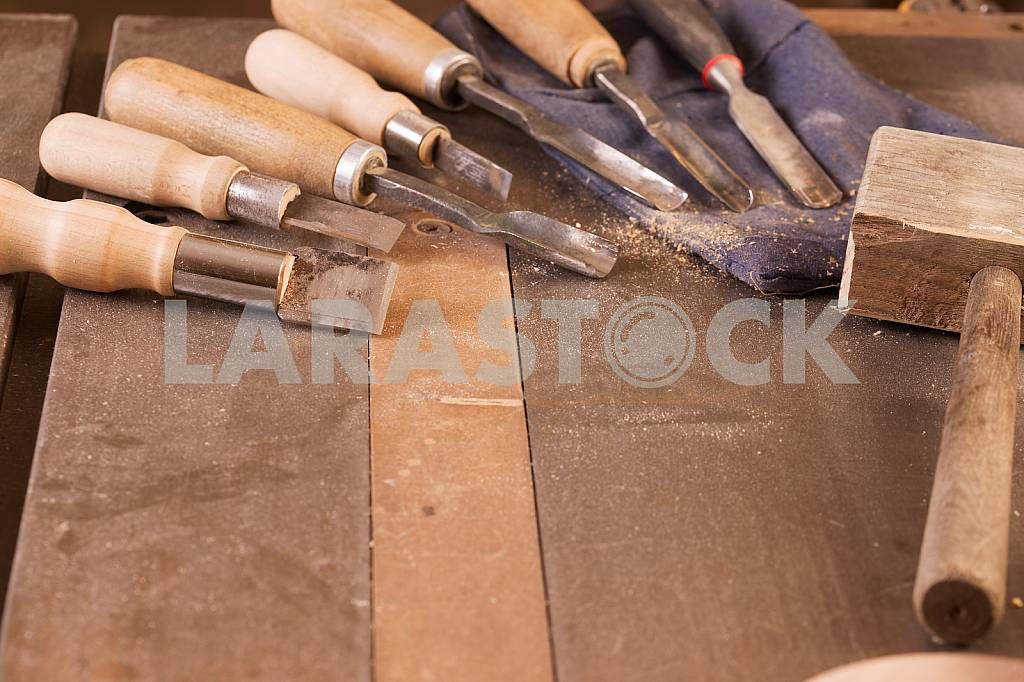 Carpenter tools on wooden table with sawdust. Circular Saw. Carpenter workplace top view — Image 45749