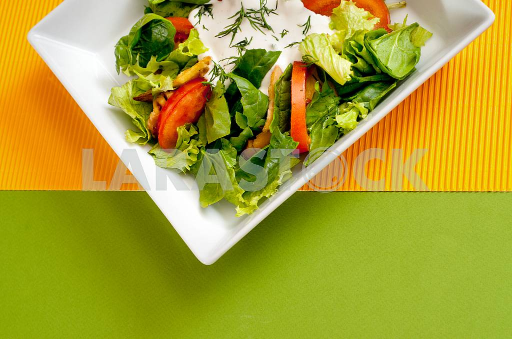 Fresh vegetable salad with sour cream — Image 32779