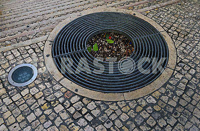 Round grille to protect the roots of the tree, street lighting and sidewalk mosaic (calcada)