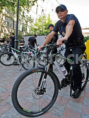 Handover ceremony of bicycle patrol police in Kiev