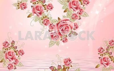 3д иллюстрация, нежный розовый фон, вода, красивые большие розовые розы
