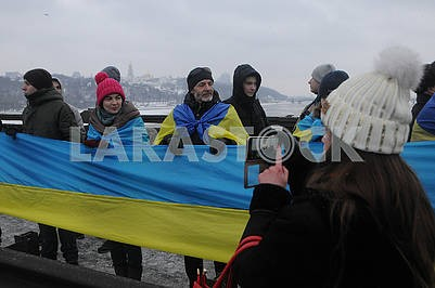 """Participants in the action """"Unite the banks of the Dnieper"""" by a living chain """"of Sobornost"""""""