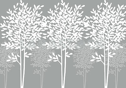 Gray background, white and light gray outlines of trees