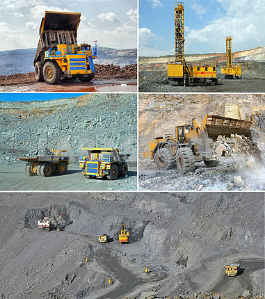 Set of images of open cast mining of iron ore