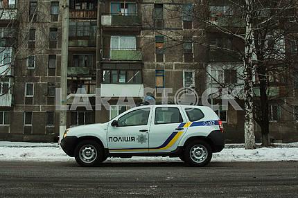 Police patrol car in Avdeevka