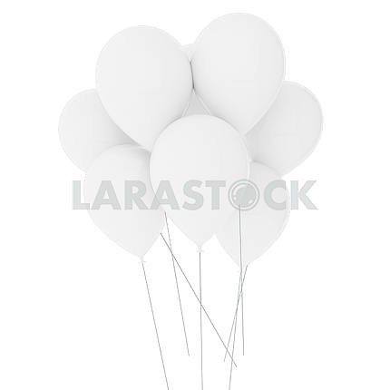 White balloons on isolated white in 3D illustration