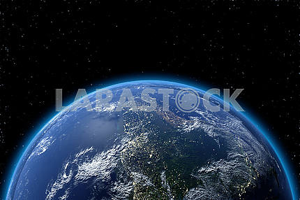 View of planet earth from space in 3D. Elements of this image furnished by NASA
