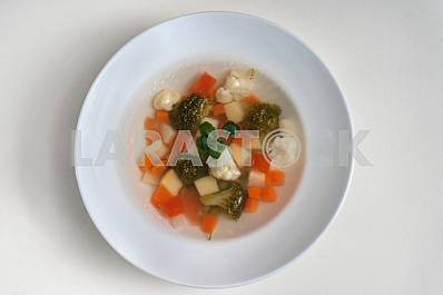 Vegetable soup with a broccoli and cauliflower