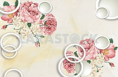 3d illustration, light beige background, white rings, large pink and white fabulous flowers