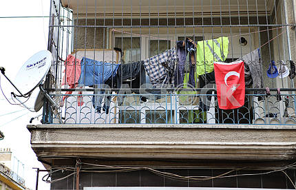 Lingerie on the balcony in Konya, Turkey