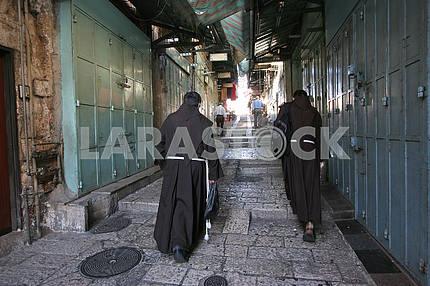 Monks on the street of Jerusalem