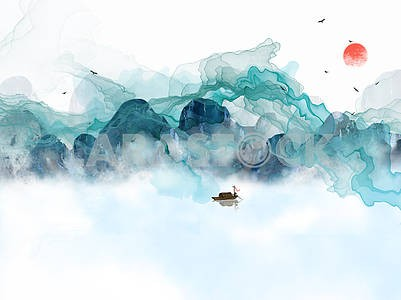 Landscape illustration, mountains, fog, sunset, flying birds, fisherman on a boat