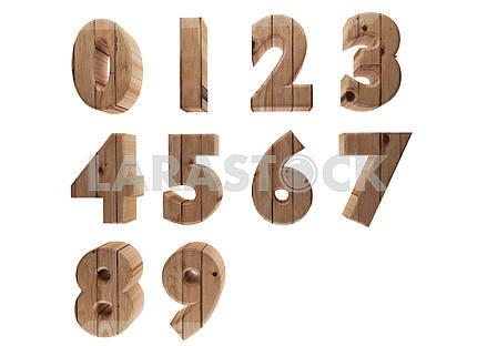 Wooden number in 3D render image