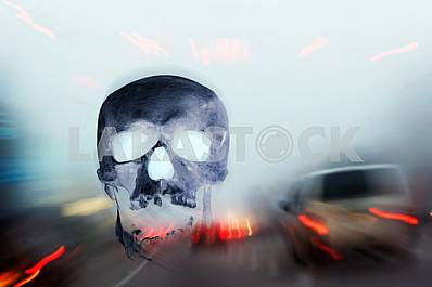 Foggy dangereous driving on the morning autobahn