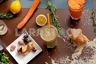 Natural juices and spices on the table