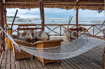 Hammock on the terrace on the beach in Zanzibar