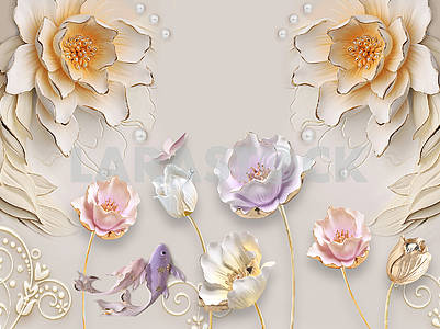 3d illustration, beige background, embossed, pearls, large beige, white and pink flowers