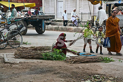 A girl on the street preparing sticks for cleaning teeth.