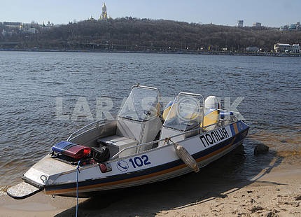 Police boat on the Dnieper River
