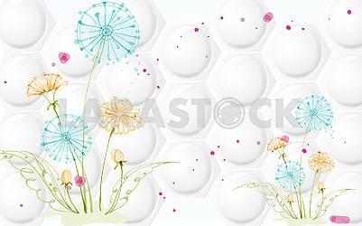 3д иллюстрация, белый фон, пупырышки, шестиугольники, разноцветные одуванчики