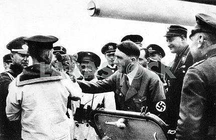 Adulf Hitler on board of german navy ship
