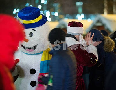 Animator in the costume of a snowman