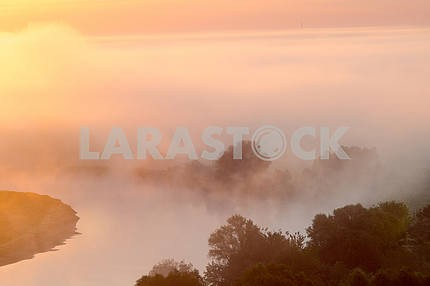 Clouds of mist over the Desna. Mezin. Chernihiv region