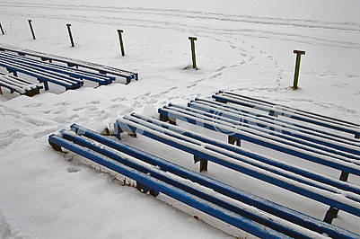 Snowy blue long benches