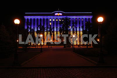 The building of the Dnepropetrovsk regional administration at night