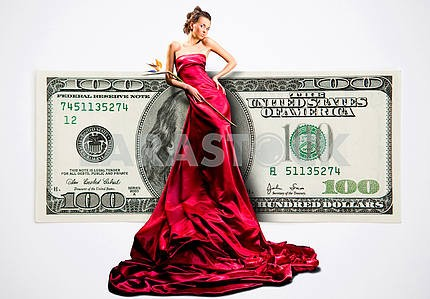 Beautiful girl in red dress with money, 100 american dollars