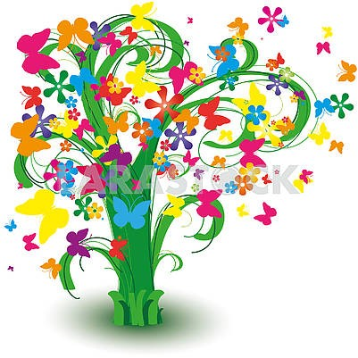 Spring tree with butterflies and curls