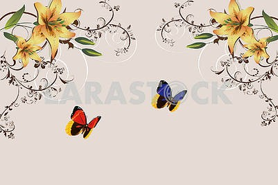 Beige background with two large bright butterflies and lilies