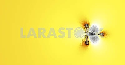 Abstract fractal on yellow flowing background, design with copy space