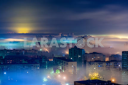 Dniprovsky district, covered with fog