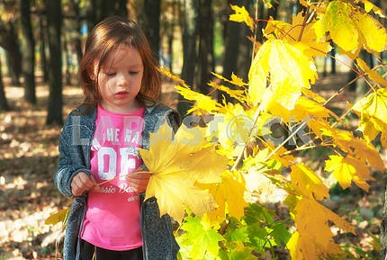 Girl with a leaf in the hands