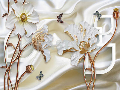 3d illustration, white silk background, large white flowers on brown stems, colorful butterflies